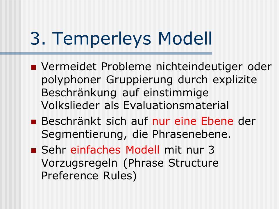 3. Temperleys Modell Vermeidet Probleme nichteindeutiger oder polyphoner Gruppierung durch explizite Beschränkung auf einstimmige Volkslieder als Eval