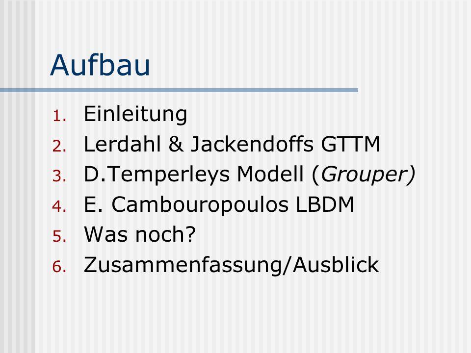Aufbau 1. Einleitung 2. Lerdahl & Jackendoffs GTTM 3. D.Temperleys Modell (Grouper) 4. E. Cambouropoulos LBDM 5. Was noch? 6. Zusammenfassung/Ausblick