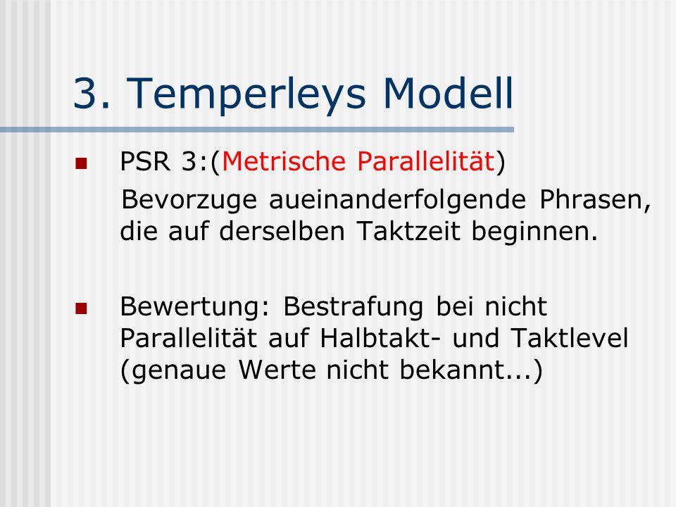 3. Temperleys Modell PSR 3:(Metrische Parallelität) Bevorzuge aueinanderfolgende Phrasen, die auf derselben Taktzeit beginnen. Bewertung: Bestrafung b