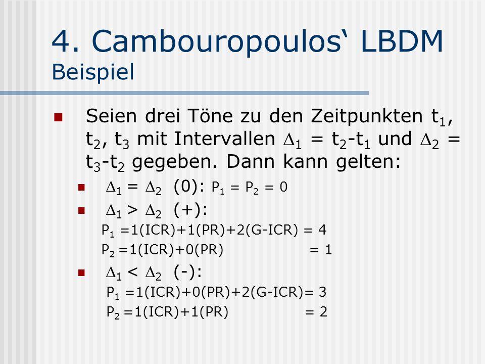 4. Cambouropoulos LBDM Beispiel Seien drei Töne zu den Zeitpunkten t 1, t 2, t 3 mit Intervallen 1 = t 2 -t 1 und 2 = t 3 -t 2 gegeben. Dann kann gelt