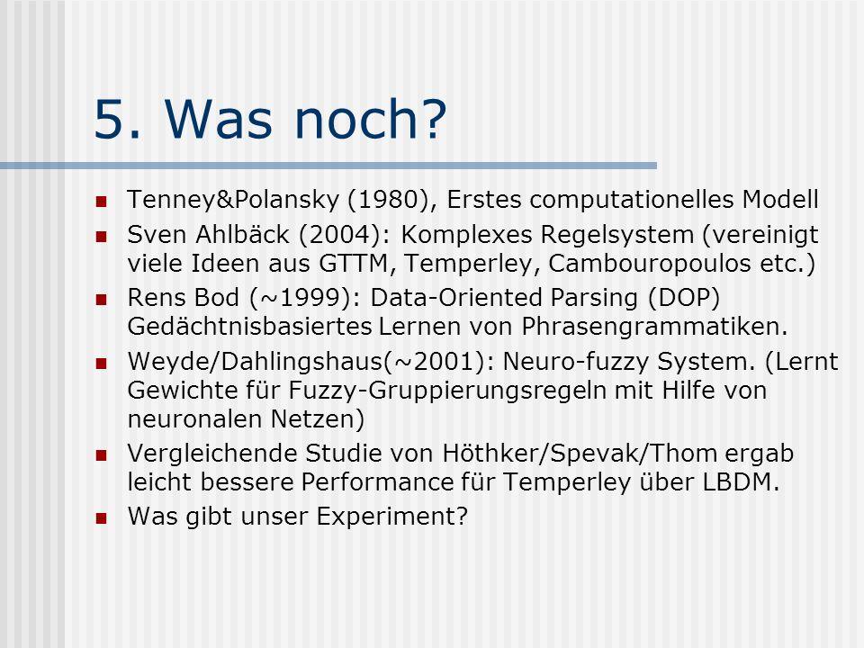 5. Was noch? Tenney&Polansky (1980), Erstes computationelles Modell Sven Ahlbäck (2004): Komplexes Regelsystem (vereinigt viele Ideen aus GTTM, Temper