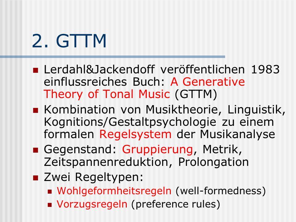 2. GTTM Lerdahl&Jackendoff veröffentlichen 1983 einflussreiches Buch: A Generative Theory of Tonal Music (GTTM) Kombination von Musiktheorie, Linguist