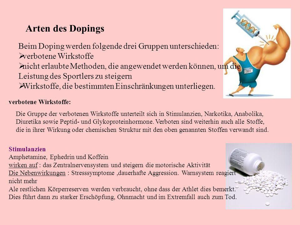 Arten des Dopings Beim Doping werden folgende drei Gruppen unterschieden: verbotene Wirkstoffe nicht erlaubte Methoden, die angewendet werden können,