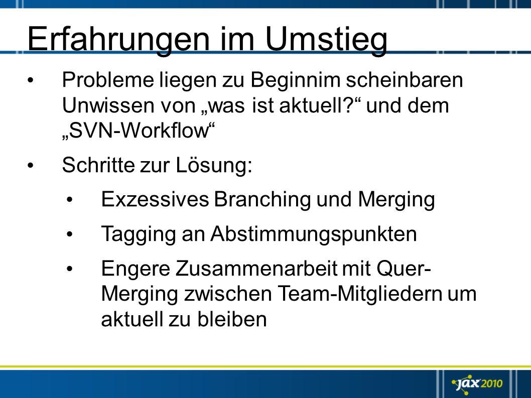 Erfahrungen im Umstieg Probleme liegen zu Beginnim scheinbaren Unwissen von was ist aktuell? und dem SVN-Workflow Schritte zur Lösung: Exzessives Bran