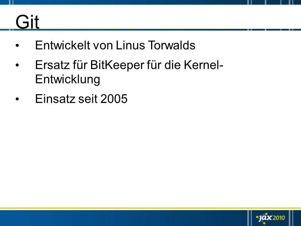 Git Entwickelt von Linus Torwalds Ersatz für BitKeeper für die Kernel- Entwicklung Einsatz seit 2005