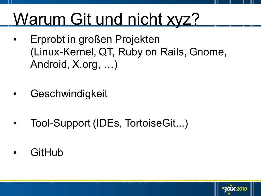 Warum Git und nicht xyz? Erprobt in großen Projekten (Linux-Kernel, QT, Ruby on Rails, Gnome, Android, X.org, …) Geschwindigkeit Tool-Support (IDEs, T