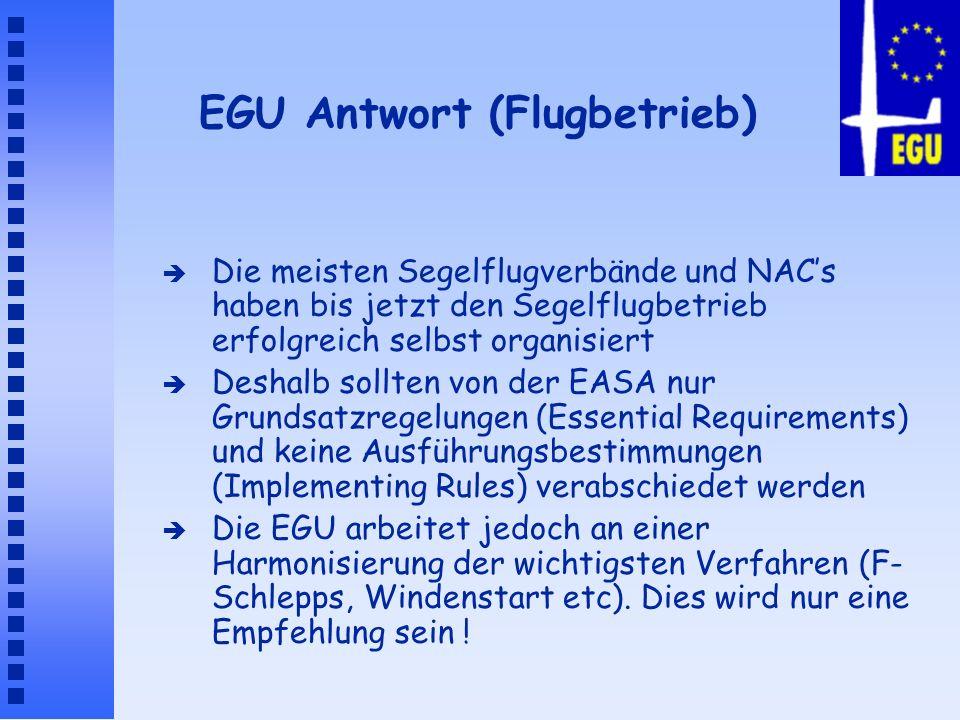 EGU Antwort (Flugbetrieb) è Die meisten Segelflugverbände und NACs haben bis jetzt den Segelflugbetrieb erfolgreich selbst organisiert è Deshalb sollt