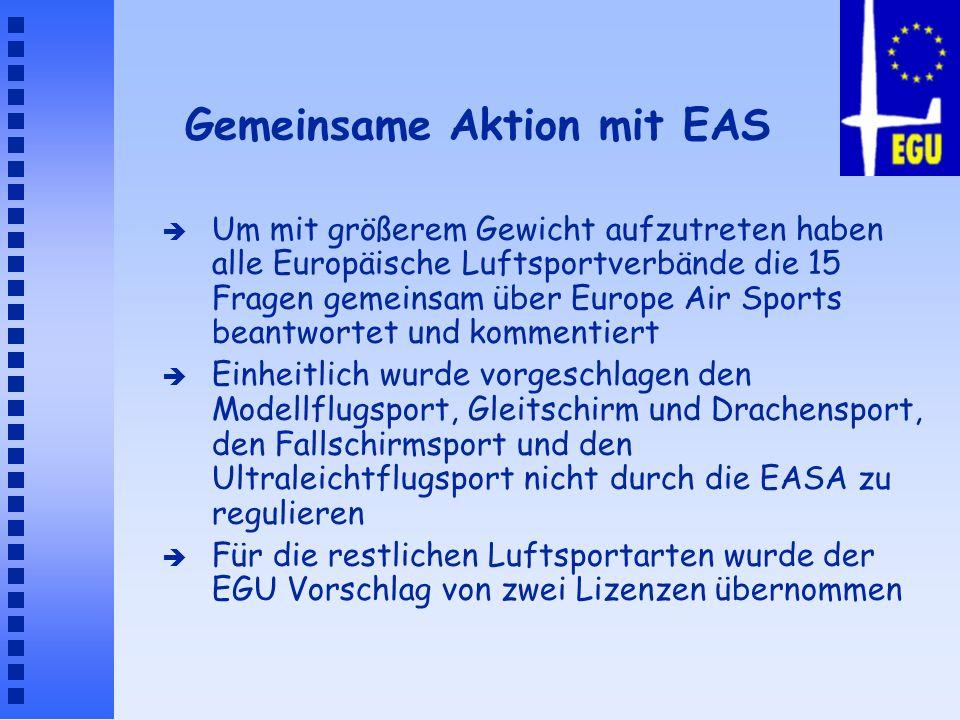 Gemeinsame Aktion mit EAS è Um mit größerem Gewicht aufzutreten haben alle Europäische Luftsportverbände die 15 Fragen gemeinsam über Europe Air Sport