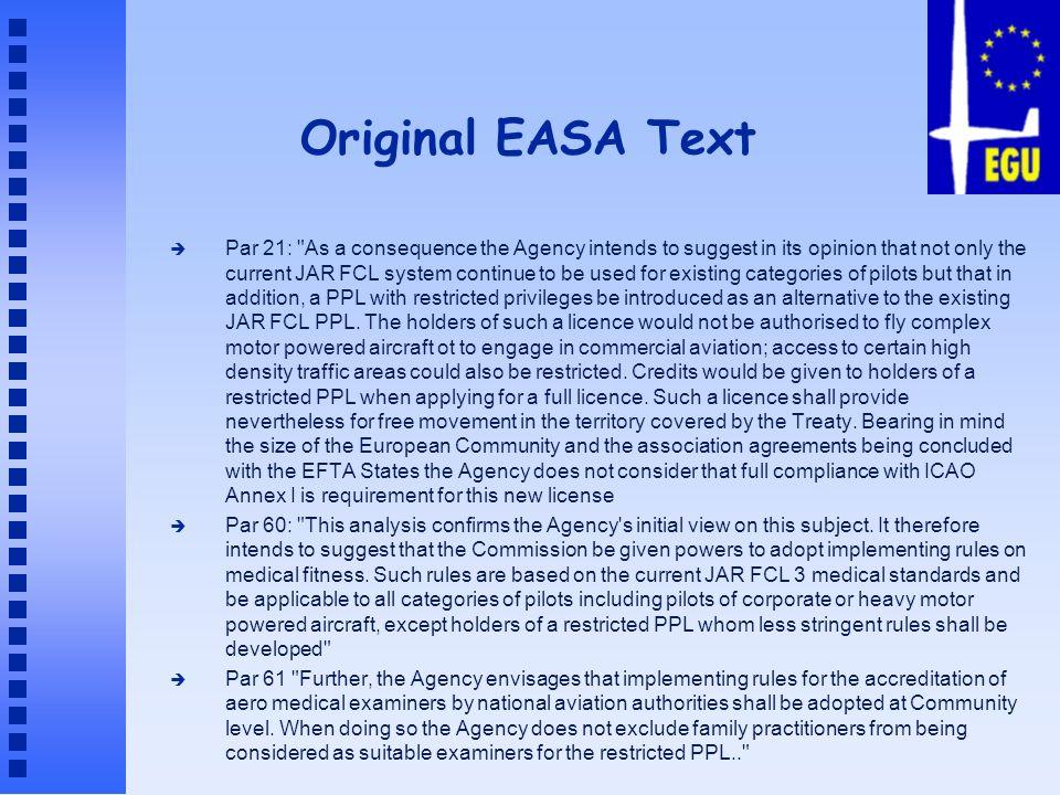 Original EASA Text è Par 21: