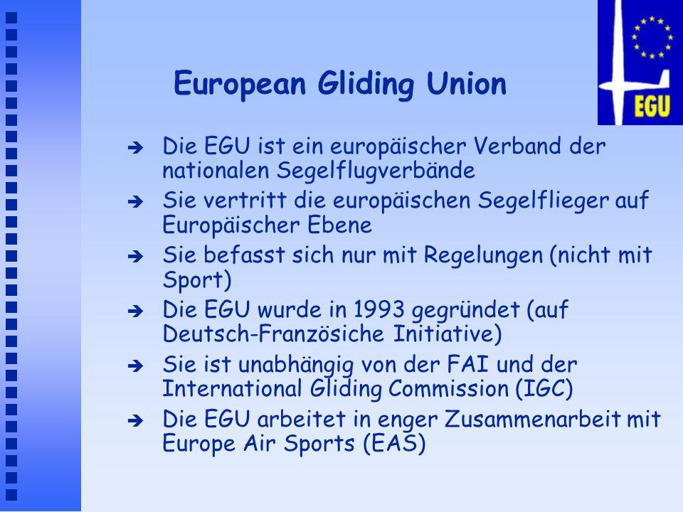 European Gliding Union è Die EGU ist ein europäischer Verband der nationalen Segelflugverbände è Sie vertritt die europäischen Segelflieger auf Europä