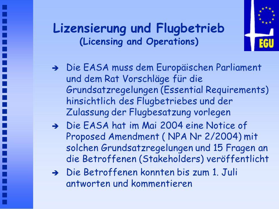 Lizensierung und Flugbetrieb (Licensing and Operations) è Die EASA muss dem Europäischen Parliament und dem Rat Vorschläge für die Grundsatzregelungen