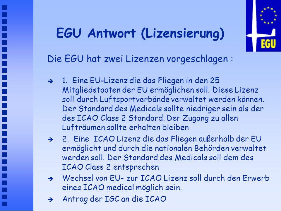 EGU Antwort (Lizensierung) è 1. Eine EU-Lizenz die das Fliegen in den 25 Mitgliedstaaten der EU ermöglichen soll. Diese Lizenz soll durch Luftsportver