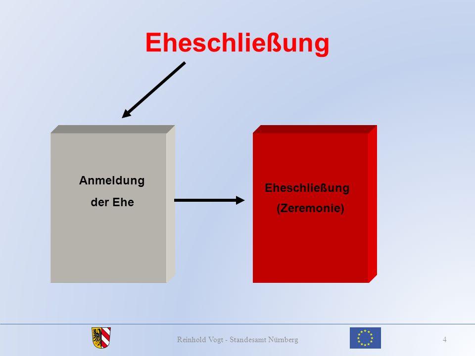 Lebenspartnerschaftsbegründung vorzulegende Unterlagen 35Reinhold Vogt - Standesamt Nürnberg § 17 PStG verweist auf die Bestimmungen der für die An- meldung der Ehe erforderlichen Dokumente.