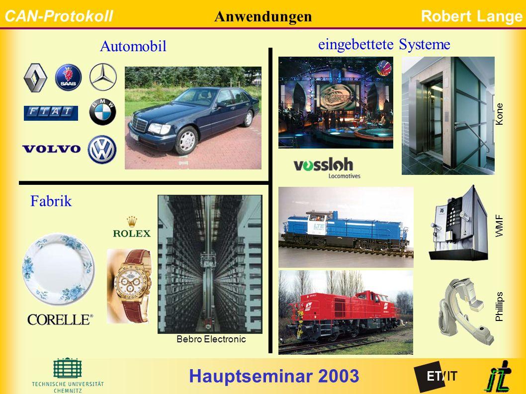 Hauptseminar 2003 CAN-ProtokollRobert Lange Anwendungen Automobil eingebettete Systeme Bebro Electronic Phillips WMF Fabrik Kone