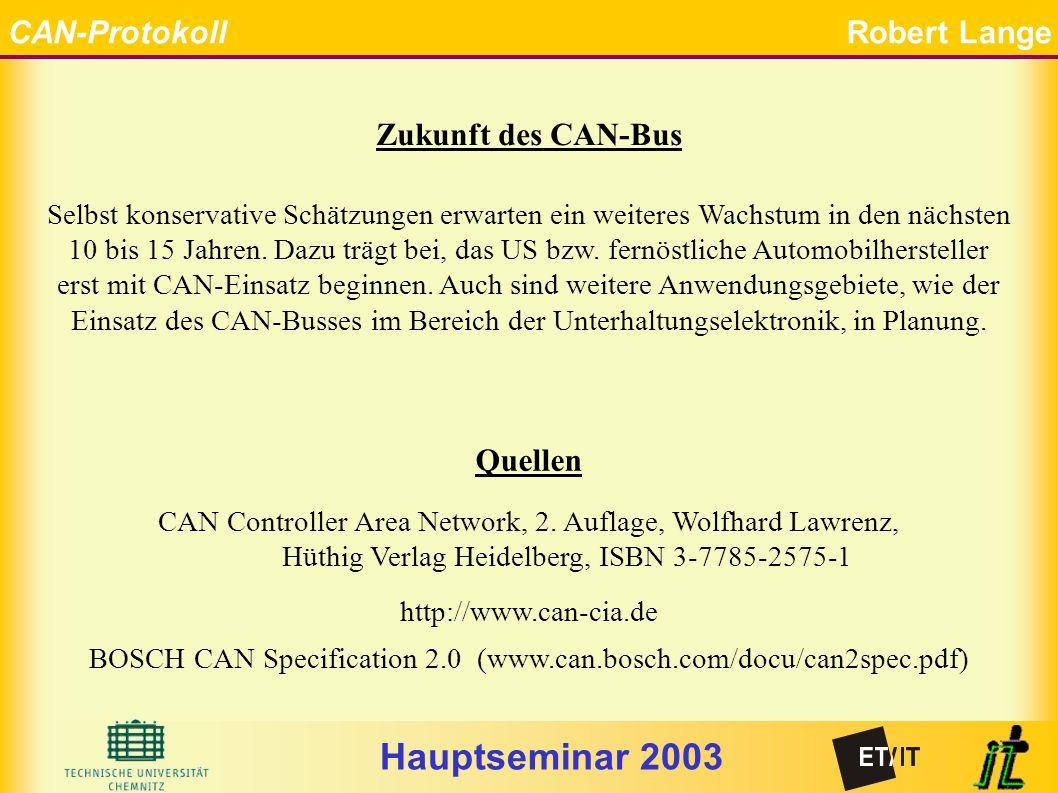 Hauptseminar 2003 CAN-ProtokollRobert Lange Ende Quellen CAN Controller Area Network, 2.