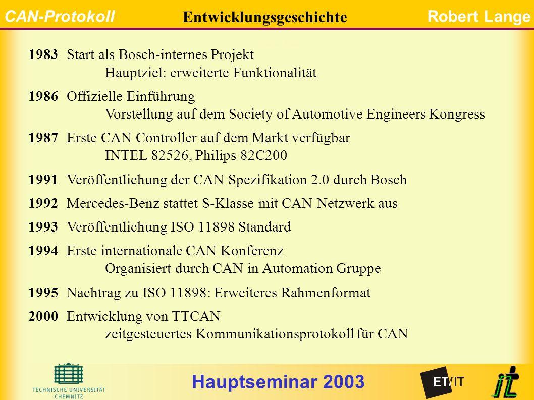 Hauptseminar 2003 CAN-ProtokollRobert Lange 1983Start als Bosch-internes Projekt Hauptziel: erweiterte Funktionalität 1986Offizielle Einführung Vorstellung auf dem Society of Automotive Engineers Kongress 1987Erste CAN Controller auf dem Markt verfügbar INTEL 82526, Philips 82C200 1991Veröffentlichung der CAN Spezifikation 2.0 durch Bosch 1992Mercedes-Benz stattet S-Klasse mit CAN Netzwerk aus 1993Veröffentlichung ISO 11898 Standard 1994Erste internationale CAN Konferenz Organisiert durch CAN in Automation Gruppe 1995Nachtrag zu ISO 11898: Erweiteres Rahmenformat 2000Entwicklung von TTCAN zeitgesteuertes Kommunikationsprotokoll für CAN Entwicklungsgeschichte Entwicklung
