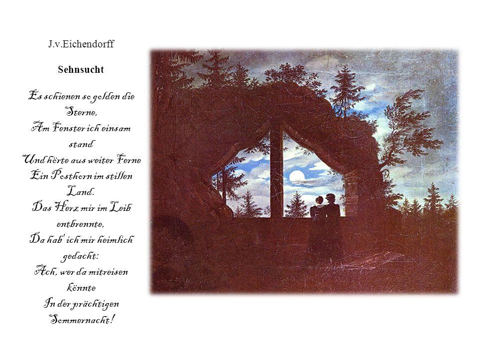 Joseph von Eichendorff: Mondnacht (1837) Es war, als hätt' der Himmel Die Erde still geküßt, Daß sie im Blütenschimmer Von ihm nun träumen müßt. Die L