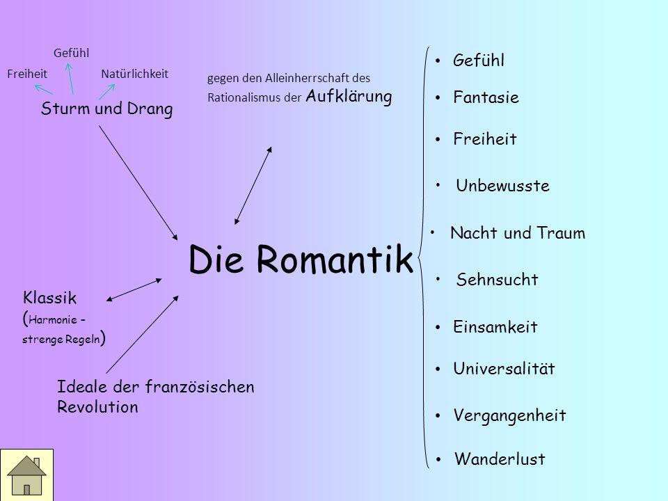 Die Romantik (1798- 1835) Frühromantik Jena Spätromantik Berlin / Wien Hochromantik Heidelberg Brüder Schlegel, Novalis, Schelling, Humbolt Eichendorf