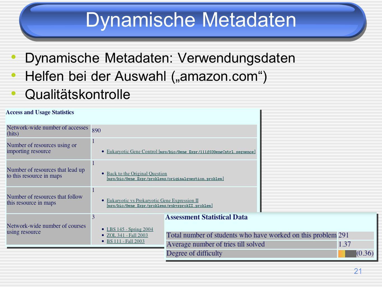 21 Dynamische Metadaten: Verwendungsdaten Helfen bei der Auswahl (amazon.com) Qualitätskontrolle Dynamische Metadaten