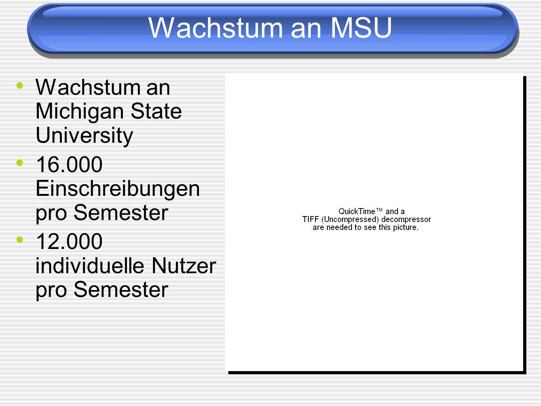 Wachstum an MSU Wachstum an Michigan State University 16.000 Einschreibungen pro Semester 12.000 individuelle Nutzer pro Semester