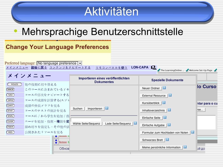 Aktivitäten Mehrsprachige Benutzerschnittstelle