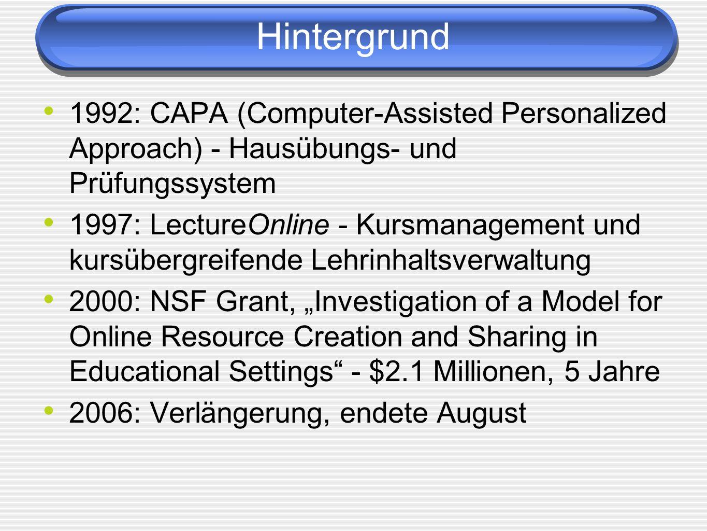 Hintergrund 1992: CAPA (Computer-Assisted Personalized Approach) - Hausübungs- und Prüfungssystem 1997: LectureOnline - Kursmanagement und kursübergre