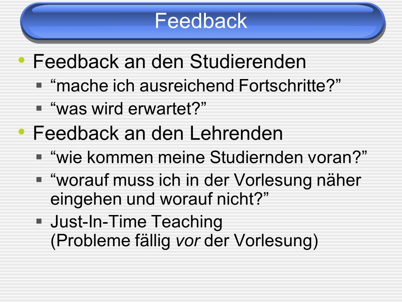 Feedback Feedback an den Studierenden mache ich ausreichend Fortschritte? was wird erwartet? Feedback an den Lehrenden wie kommen meine Studiernden vo