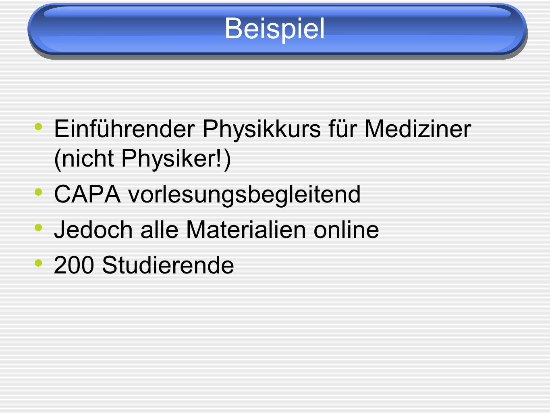 Beispiel Einführender Physikkurs für Mediziner (nicht Physiker!) CAPA vorlesungsbegleitend Jedoch alle Materialien online 200 Studierende