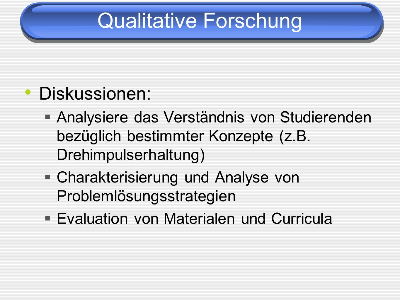 Qualitative Forschung Diskussionen: Analysiere das Verständnis von Studierenden bezüglich bestimmter Konzepte (z.B. Drehimpulserhaltung) Charakterisie