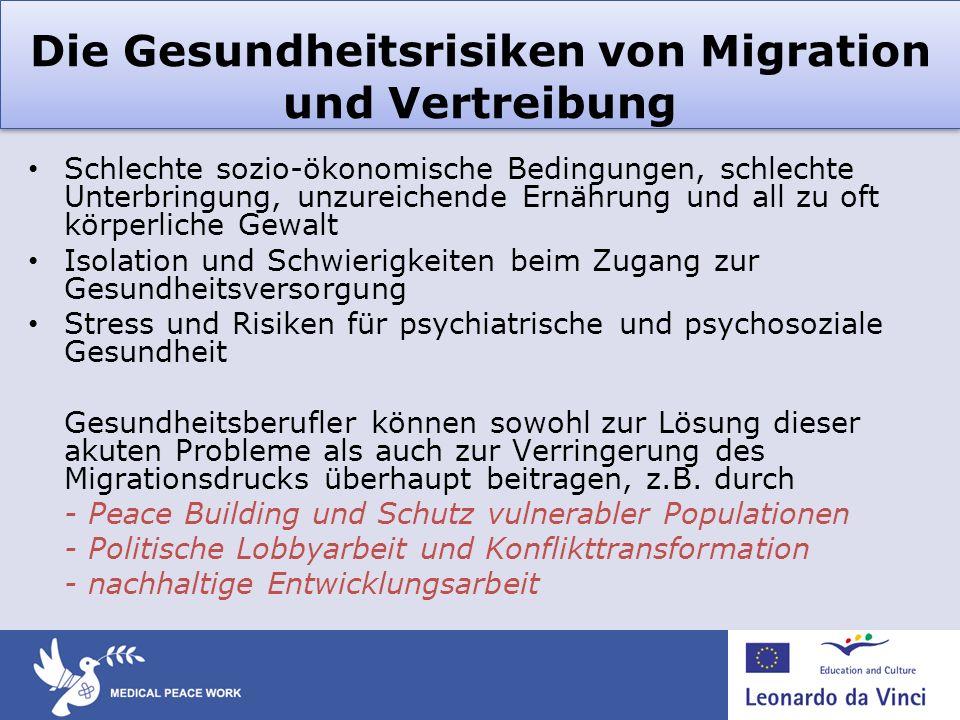 Die Gesundheitsrisiken von Migration und Vertreibung Schlechte sozio-ökonomische Bedingungen, schlechte Unterbringung, unzureichende Ernährung und all