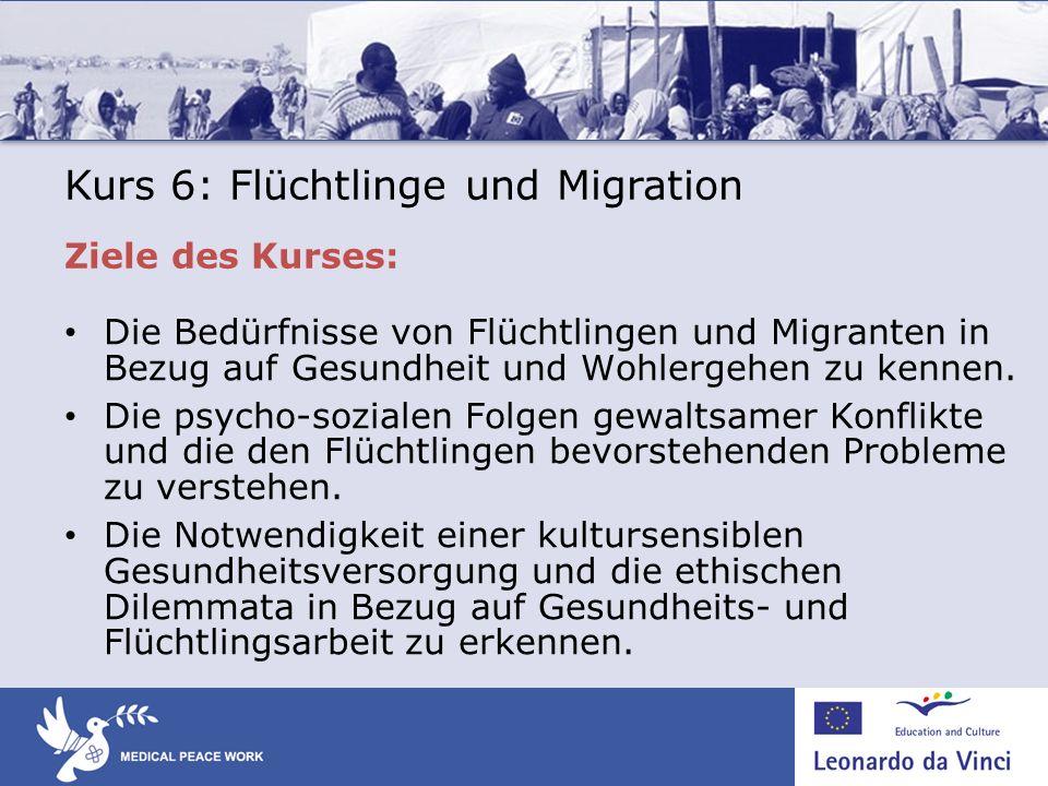 Die Bedürfnisse von Flüchtlingen und Migranten in Bezug auf Gesundheit und Wohlergehen zu kennen. Die psycho-sozialen Folgen gewaltsamer Konflikte und