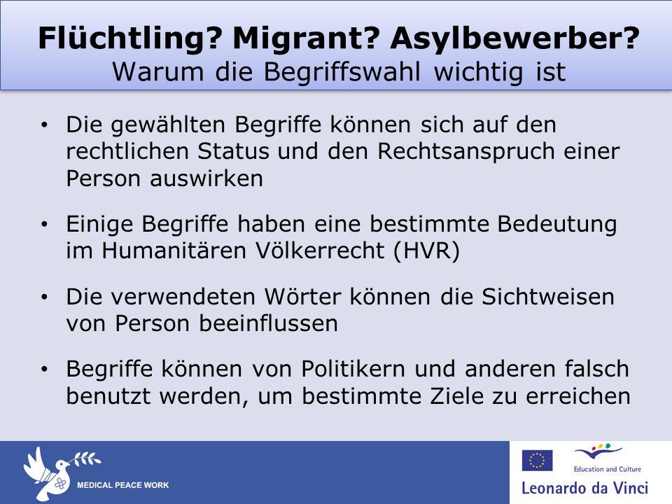 Flüchtling? Migrant? Asylbewerber? Warum die Begriffswahl wichtig ist Die gewählten Begriffe können sich auf den rechtlichen Status und den Rechtsansp