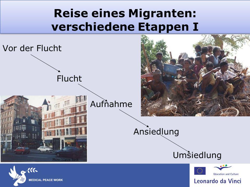 Reise eines Migranten: verschiedene Etappen I Vor der Flucht Umsiedlung Ansiedlung Aufnahme Flucht Photo: Marion Birch
