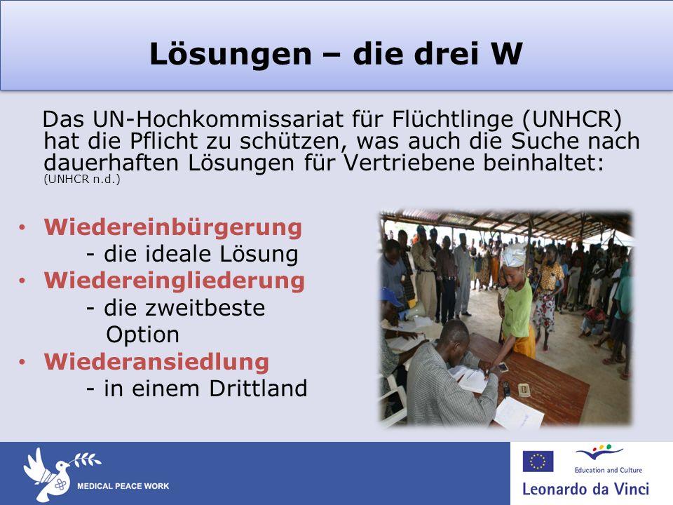 Lösungen – die drei W Das UN-Hochkommissariat für Flüchtlinge (UNHCR) hat die Pflicht zu schützen, was auch die Suche nach dauerhaften Lösungen für Ve