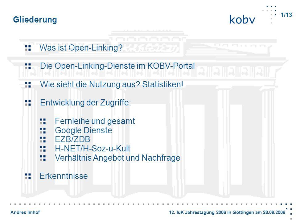 Andres Imhof 12. IuK Jahrestagung 2006 in Göttingen am 28.09.2006 Gliederung Was ist Open-Linking? Die Open-Linking-Dienste im KOBV-Portal Wie sieht d