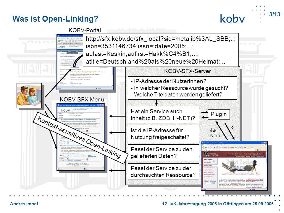 Andres Imhof 12. IuK Jahrestagung 2006 in Göttingen am 28.09.2006 KOBV-Portal KOBV-SFX-Server - IP-Adresse der NutzerInnen? - In welcher Ressource wur