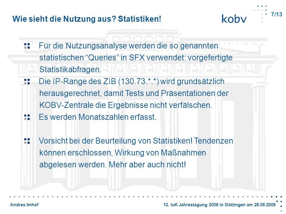Andres Imhof 12. IuK Jahrestagung 2006 in Göttingen am 28.09.2006 Wie sieht die Nutzung aus? Statistiken! Für die Nutzungsanalyse werden die so genann