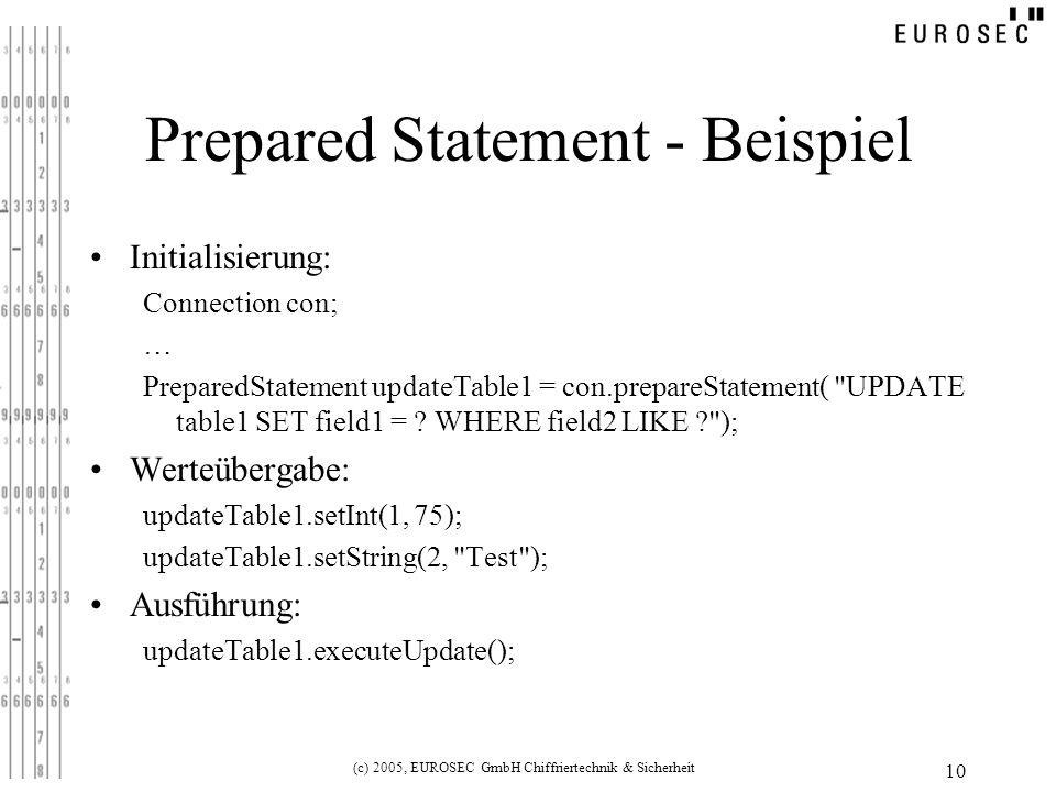 (c) 2005, EUROSEC GmbH Chiffriertechnik & Sicherheit 10 Prepared Statement - Beispiel Initialisierung: Connection con; … PreparedStatement updateTable