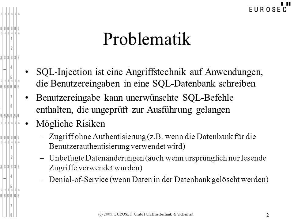 (c) 2005, EUROSEC GmbH Chiffriertechnik & Sicherheit 2 Problematik SQL-Injection ist eine Angriffstechnik auf Anwendungen, die Benutzereingaben in ein