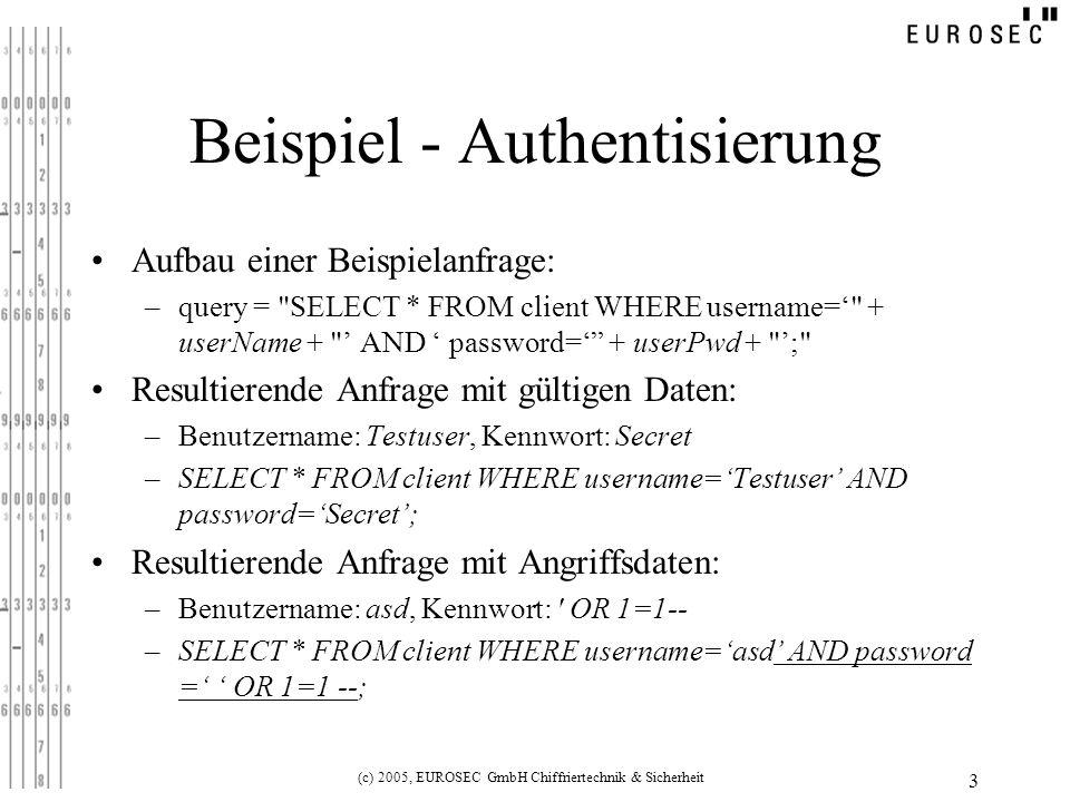 (c) 2005, EUROSEC GmbH Chiffriertechnik & Sicherheit 3 Beispiel - Authentisierung Aufbau einer Beispielanfrage: –query =
