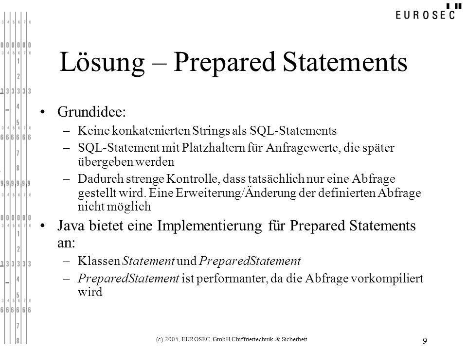 (c) 2005, EUROSEC GmbH Chiffriertechnik & Sicherheit 9 Lösung – Prepared Statements Grundidee: –Keine konkatenierten Strings als SQL-Statements –SQL-S