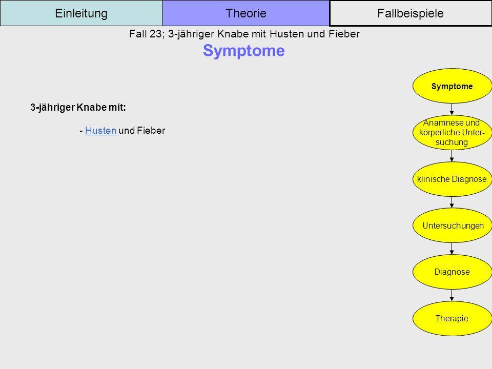 Fall 23; 3-jähriger Knabe mit Husten und Fieber Symptome Einleitung Fallbeispiele Theorie Symptome Anamnese und körperliche Unter- suchung klinische D