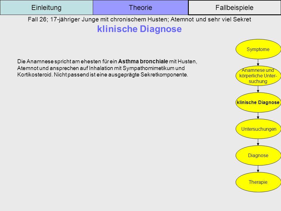 Fall 26; 17-jähriger Junge mit chronischem Husten; Atemnot und sehr viel Sekret klinische Diagnose Einleitung Fallbeispiele Theorie Symptome Anamnese
