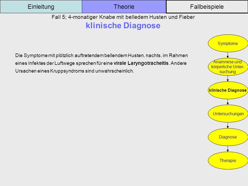 Fall 5; 4-monatiger Knabe mit belledem Husten und Fieber klinische Diagnose Einleitung Fallbeispiele Theorie Symptome Anamnese und körperliche Unter-
