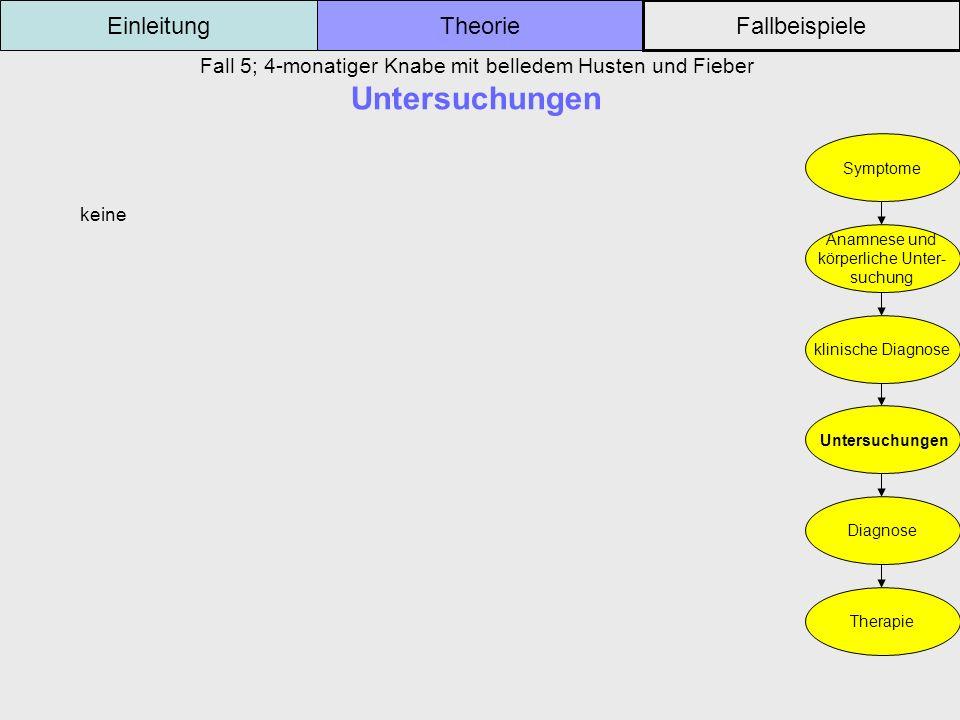 Fall 5; 4-monatiger Knabe mit belledem Husten und Fieber Untersuchungen Einleitung Fallbeispiele Theorie Symptome Anamnese und körperliche Unter- such