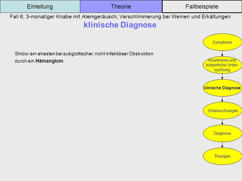 Fall 6; 3-monatiger Knabe mit Atemgeräusch; Verschlimmerung bei Weinen und Erkältungen klinische Diagnose Einleitung Fallbeispiele Theorie Symptome An