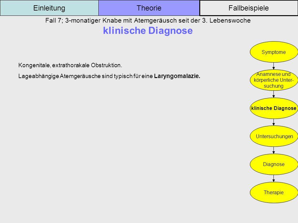 Fall 7; 3-monatiger Knabe mit Atemgeräusch seit der 3. Lebenswoche klinische Diagnose Einleitung Fallbeispiele Theorie Symptome Anamnese und körperlic