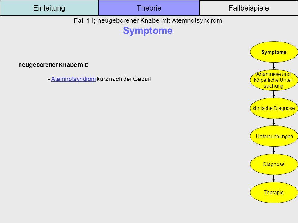 Fall 11; neugeborener Knabe mit Atemnotsyndrom Symptome Einleitung Fallbeispiele Theorie Symptome Anamnese und körperliche Unter- suchung klinische Di