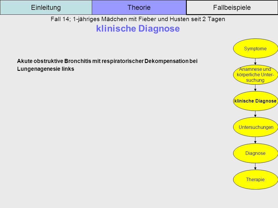 Fall 14; 1-jähriges Mädchen mit Fieber und Husten seit 2 Tagen klinische Diagnose Einleitung Fallbeispiele Theorie Symptome Anamnese und körperliche U