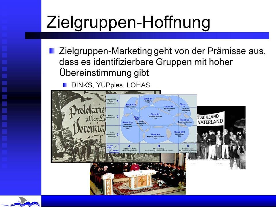 Zielgruppen-Hoffnung Zielgruppen-Marketing geht von der Prämisse aus, dass es identifizierbare Gruppen mit hoher Übereinstimmung gibt DINKS, YUPpies, LOHAS